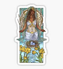 Lady of March with Daffodils and Birch Trees Easter Resurrection Maiden Mucha Inspired Birthstone Series Sticker