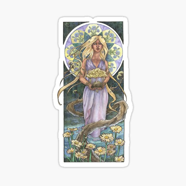 Lady of April with Bonsai and Daisies Mucha Inspired Birthstone Series Sticker