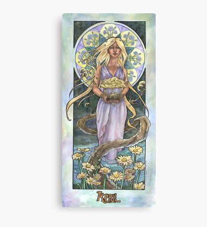 Lady of April with Bonsai and Daisies Mucha Inspired Birthstone Series Canvas Print