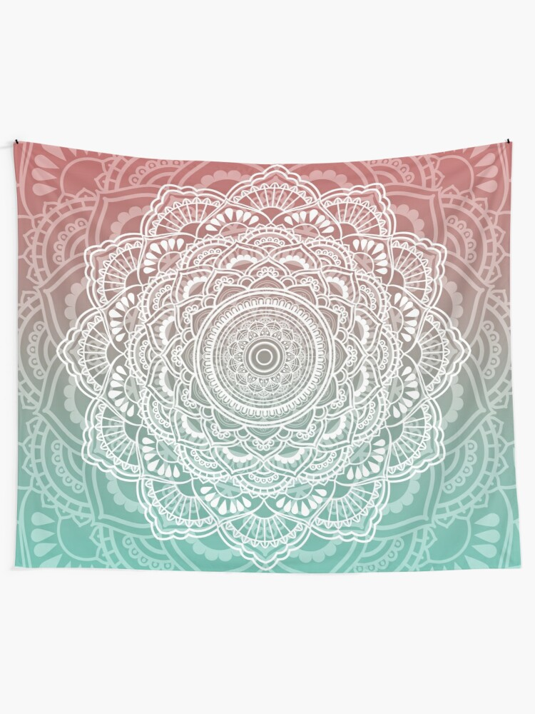 Alternate view of Muted Peach and Turquoise Tapestry Tapestry