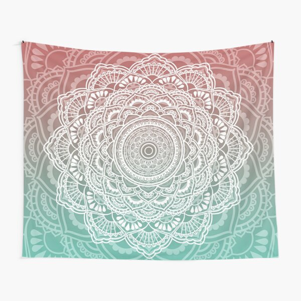 Muted Peach and Turquoise Tapestry Tapestry