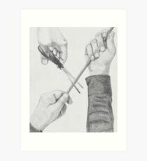Hands and scissors Art Print