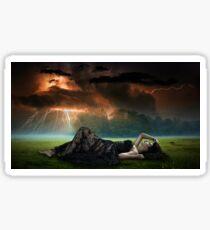 Fantasy scene with princess in a storm Sticker