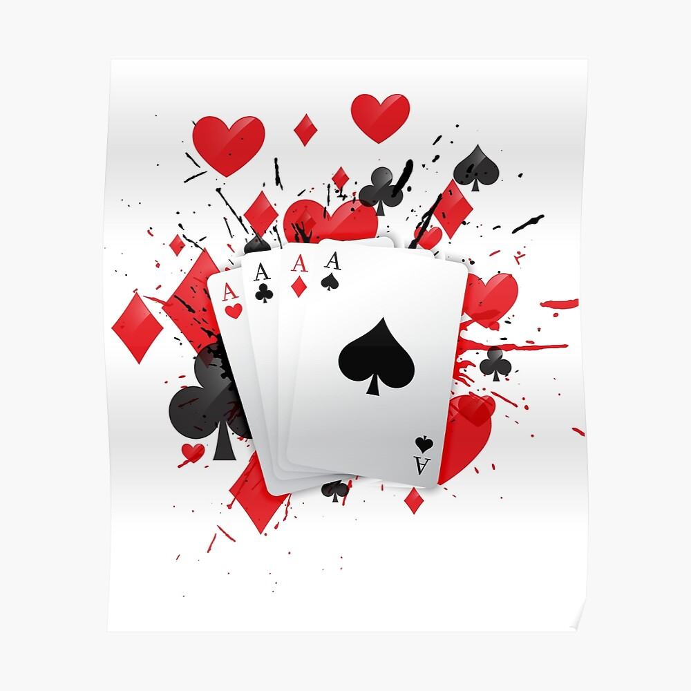 Cuatro cartas de as Poker Mano de mano Splash Póster