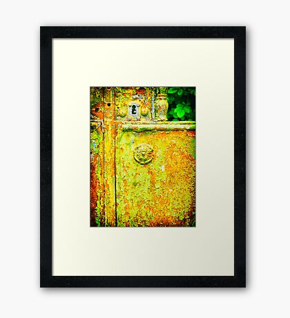 The rusty and peeling gate Framed Print
