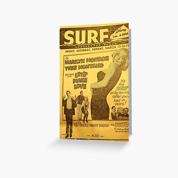 The Surf Theater Movie listing circa 1961 Greeting Card