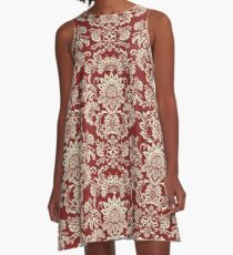 Damask Vintage Red and White A-Line Dress