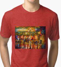 Misty Cafe - Leonid Afremov Tri-blend T-Shirt