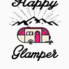 HAPPY GLAMPER CAMPER CAMPING HIKING RV RECREATIONAL VEHICLE MOUNTAINS by MyHandmadeSigns