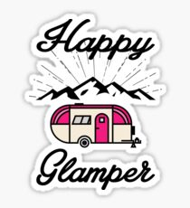 HAPPY GLAMPER CAMPER CAMPING HIKING RV RECREATIONAL VEHICLE MOUNTAINS Sticker