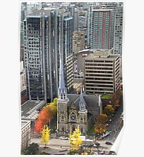 Downtown Skyscrapers and Cathedral from Harbour Tower, Vancouver City, Canada Poster