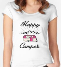 HAPPY CAMPER CAMPING HIKING RV RECREATIONAL VEHICLE MOUNTAINS Women's Fitted Scoop T-Shirt