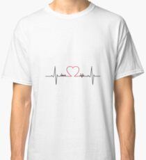 Heart beat with love life inspirational quote Classic T-Shirt