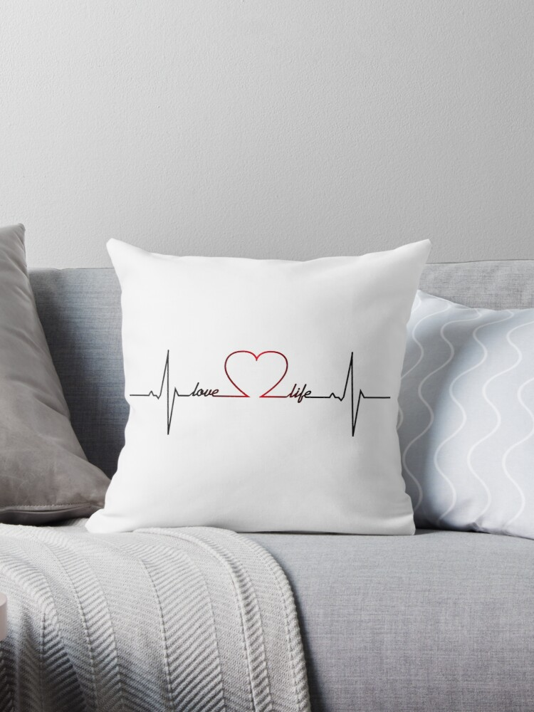 Heart Beat With Love Life Inspirational Quote Throw Pillow By Pixxart Redbubble
