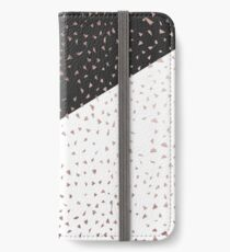 Speckled Rose Gold Flakes on Black White Geometric iPhone Wallet