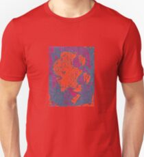 Map Composition. Red And Blue Neon Pattern T-Shirt