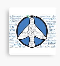 Peace in languages and symbols Canvas Print