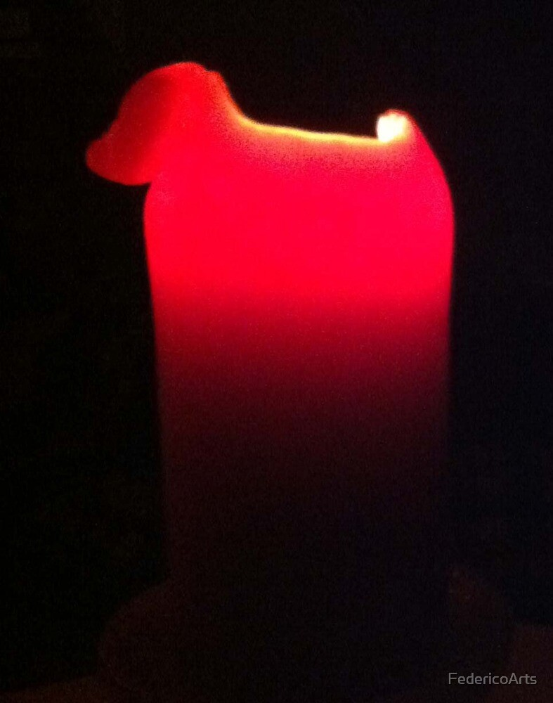 Soft Glow of a Red Candle by FedericoArts