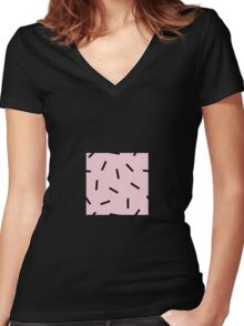 Postmodern Confetti in Pink Women's Fitted V-Neck T-Shirt