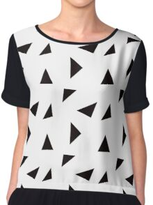 Triangle Toss in Black on White Chiffon Top