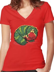 [FruitCats] Watermelon Women's Fitted V-Neck T-Shirt