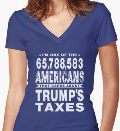 Americans Care Trumps Taxes Women's Fitted V-Neck T-Shirt