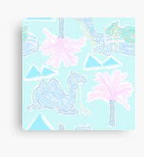Camel Cabana in Psychedelic Blue Canvas Print