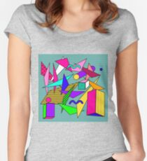 Geometric pattern in memphis 80s style Women's Fitted Scoop T-Shirt