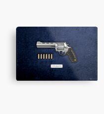 .44 Magnum Colt Anaconda mit Munition auf blauem Samt Metalldruck