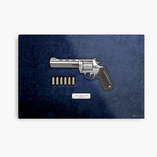 .44 Magnum Colt Anaconda with Ammo on Blue Velvet  Metal Print