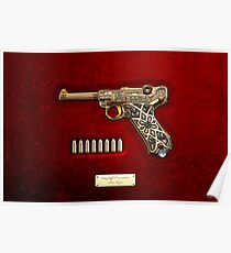 Krieghoff Presentation P.08 Luger with Ammo over Red Velvet  Poster