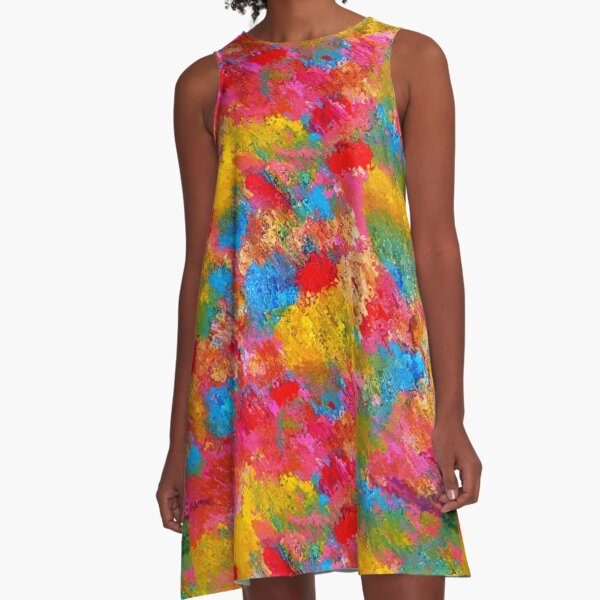 Blooming Meadow. Flowers Abstract Pattern. A-Line Dress