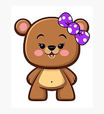 Brown Bear Girl Kawaii Photographic Print