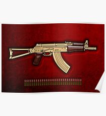 Gold AKS-74U Assault Rifle with 5.45x39 Rounds over Red Velvet   Poster
