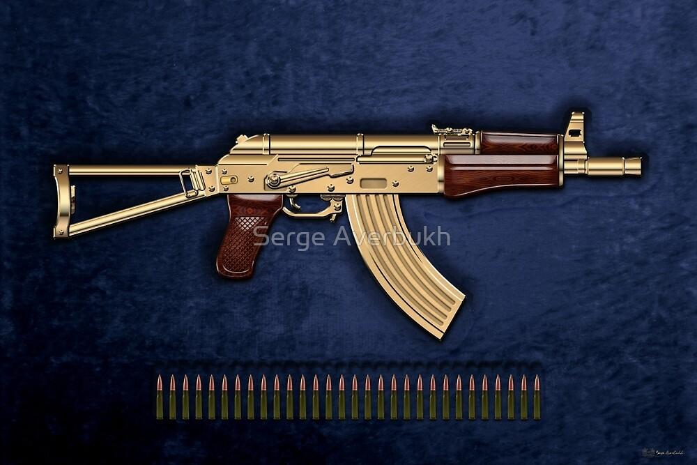Gold AKS-74U Assault Rifle with 5 45x39 Rounds over Blue