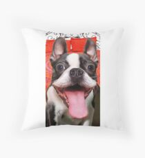 FUNNY GOOFY BOSTON TERRIER DOG~Just Try not TO Laugh! Throw Pillow