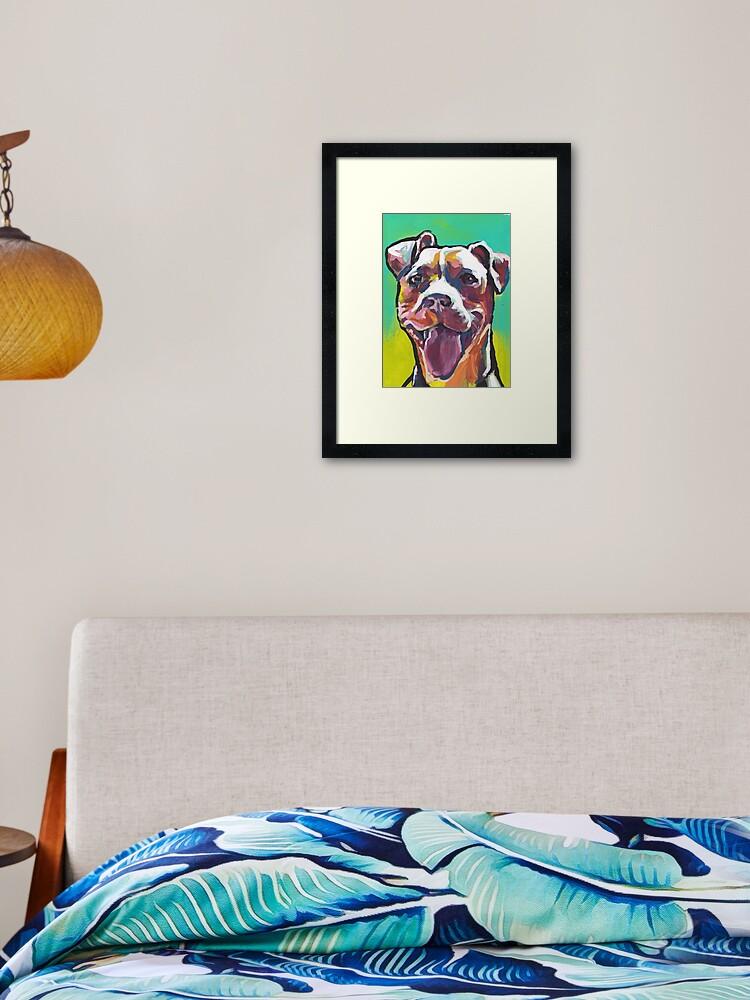 Pitbull Dog Bright Colorful Pop Dog Art Framed Art Print By Bentnotbroken11 Redbubble