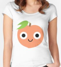 Peach Emoji Shock and Surprise Women's Fitted Scoop T-Shirt