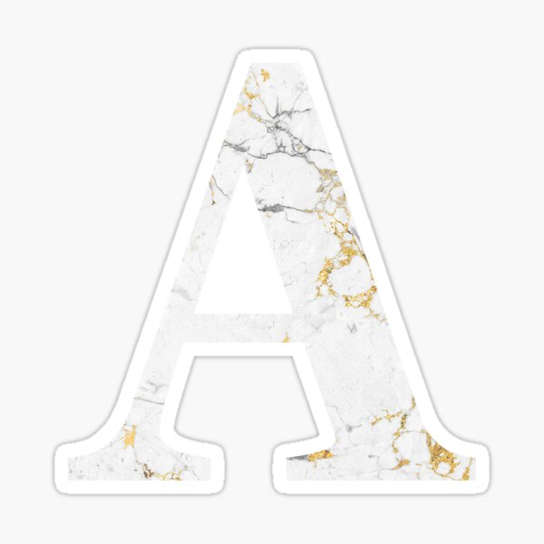 A - Alpha White Gold Foil Marble Sticker