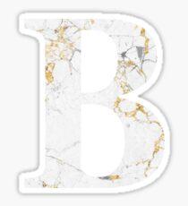 B - Beta White Marble Gold Foil Sticker