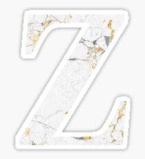 Zeta - Gold Foiled White Marble Sticker