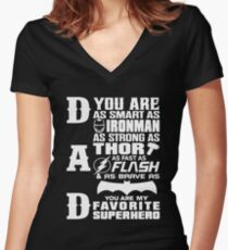 Dad - Superhero - Dad Gifts For Father's Day Women's Fitted V-Neck T-Shirt