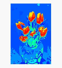 Red tulips on blue Photographic Print