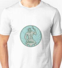 Schmied, der Amboss-Kreis-Monolinie hämmert Unisex T-Shirt
