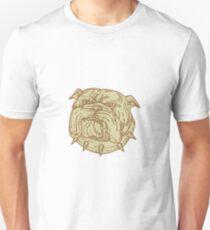 Bulldog Dog Mongrel Head Collar Mono Line Unisex T-Shirt
