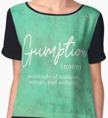 Gumption Definition - Word Nerd - White Lettering on Turquoise Chiffon Top