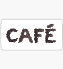 Café word made out of coffee beans Sticker