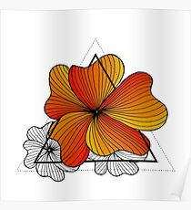orange flowers in triangle Poster