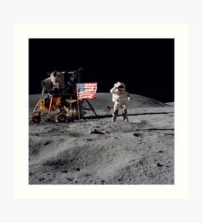 Young and Rover on the DescartesMoonwalk EVAs Apollo 16 12X12 PHOTOGRAPH