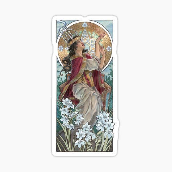 Lady of December with White Narcissus and Saint Lucy Candle Crown Goddess Mucha Inspired Birthstone Series Sticker